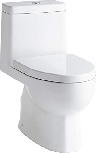 KOHLER K-3983-S-0 Reach One-Piece Dual-Flush Compact Elongated Bowl Toilet with Slow Close Toilet Seat Included, White, 12-inch Rough-in