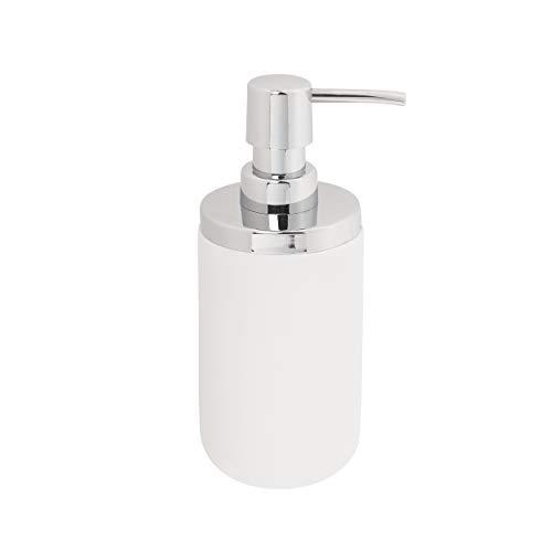 UMBRA Soap pump. Distributeur à savon Junip. Pompe à savon liquide pour lavabo de salle de bain, ou évier de cuisine, en résine de pierre blanche mate.