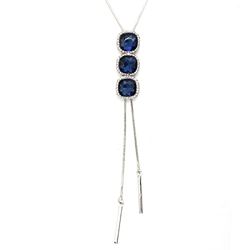 Gexo Long Sweater Tassel Necklaces for Women Multi-Layer Flower Pendant Y Necklace Lariat Adjustable Chain Necklace-Blue for Women Girl