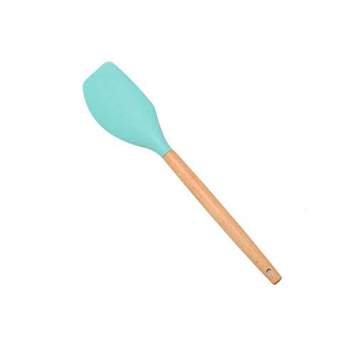 Espátula de Silicona Cuchara Pinzas Utensilios Cuchara de Sopa Resistente al Calor Pala de espátula Antiadherente Mango de Madera Herramienta de Cocina para cocinar - Azul 7