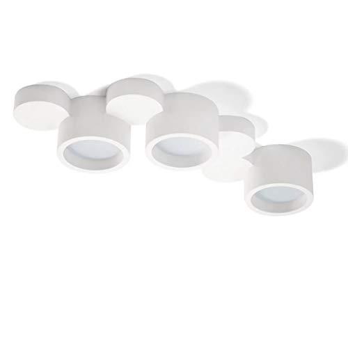 Plafoniera design moderna tre luci gx53 lampadine led gesso bianca per soggiorno pitturabile alta qualità