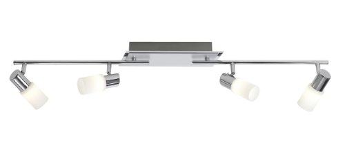 Trio-Leuchten LED-Balken Aluminium gebürstet/chrom, Glas weiß gewischt, mit 2 Gelenken, inklusiv 4x4.5W LED, Breite: max. 100 cm 821410405