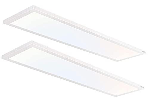 Hykolity 1x4 FT LED Flat Panel Selectable CCT Flush Mount Light,4800lm,48W Dimmable Ultra Slim Edge-Lit Ceiling Light, 3000K/4000K/5000K Built-in Driver Surface Mount Lights for Kitchen Garage,2 Pack