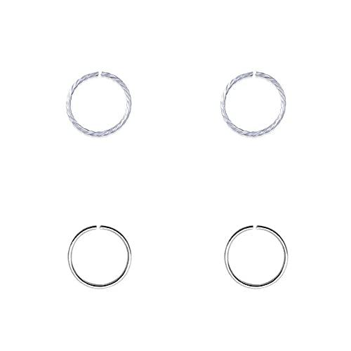 4 aros nariz finos, plata de ley 925 sin cierre, 9mm diámetro interior, 0,6mm grosor, 2 aros lisos mas 2 aros trenzados.