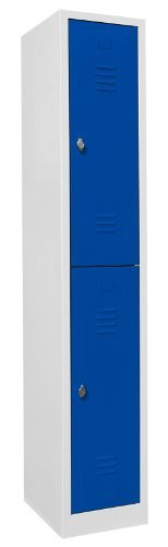 Schließfachschrank Wertfachschrank Fächerschrank Spind Umkleideschrank 2 Fächer-Spint 520211 Enzianblau Maße:1800 x 315 x 500 mm (H x B x T) kompl. montiert und verschweißt