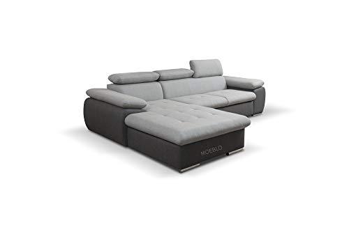 mb-moebel Ecksofa mit Schlaffunktion Eckcouch mit Bettkasten Sofa Couch L-Form Polsterecke NILUX (Hellgrau+ Dunkelgrau, Ecksofa Links)