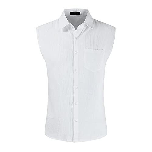 Camiseta Sin Mangas Hombre Verano Transpirable Color Sólido Hombre Shirt Bolsillos Básicos Tapeta con...
