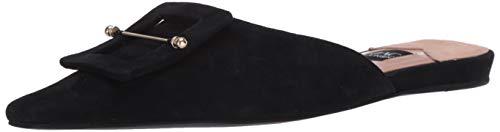 genuine suede leather upper Slip on mule Buckle detail