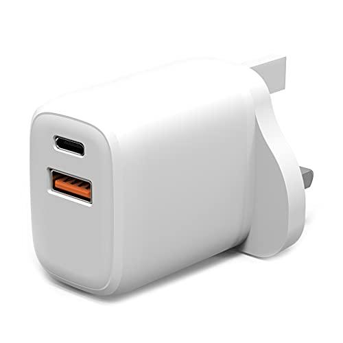 Wenyounge Cargador de Enchufe USB C UK 20W 2 Puertos PD Cargador rápido para Cabezales de Carga portátiles
