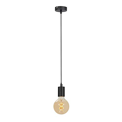 Briloner Leuchten Pendelleuchte, Pendellampe 1-flammig, Hängelampe Retro/Vintage, Black Steel, 1x E27 max. 60 Watt, Schwarz, W 4099-015