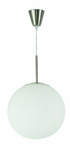 Lámpara colgante con forma de bola de cristal niquelado mate de Globo (1 x 60 W, E27, diámetro de 35 cm, altura de180 cm) (1584)