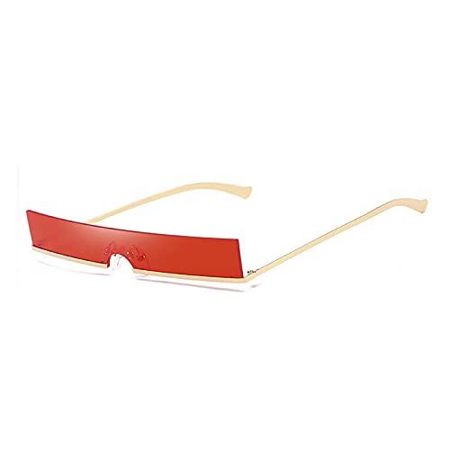 Gafas De Sol Hombres Gafas De Sol De Medio Marco Únicas Moda para Mujer Gafas De Sol De Metal Rectangulares Hombres Oro-Rojo