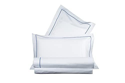 Juego de sábanas bordadas de raso de puro algodón, fabricado en Italia, para cama de matrimonio, color blanco, bordado azul