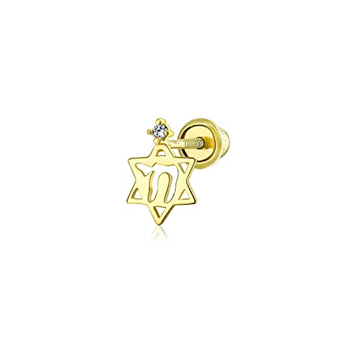 Ani's Chai Star Of David Je Bat Mitzvah Catilage Pendientes para hombres y mujeres CZ diamante en oro amarillo de 14 quilates chapado en plata 925