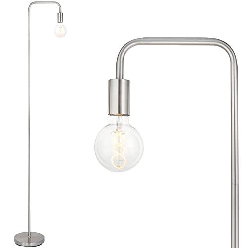 BBHome Lámpara de pie retro curvada minimalista de metal con interruptor de pie para dormitorio, salón, lectura, oficina, 165 cm, E27 (níquel plateado)