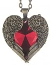 Retro Heart-Shape Angel Wing Style Rhinestone Pendant Necklace for Lady - Red + Bronze