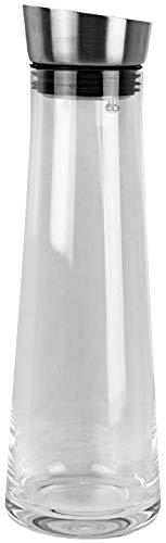 HRB Glaskaraffe mit Deckel 1 L Volumen, optimal nutzbar als Wasserkaraffe, elegant designte Karaffe für hausgemachte Trinkspezialitäten Aller Art