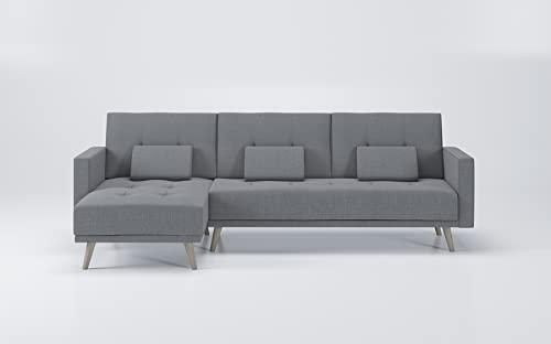 Skraut Home - Divano ad angolo modello Verona, convertibile in letto, reversibile, Grigio chiaro.