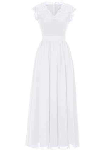 DressyStar 0050 Ballkleider mit Spitzen Elegant V-Ausschnitt Cocktailkeider Kurz Ärmel Chiffon Blumenmuster Weiß M