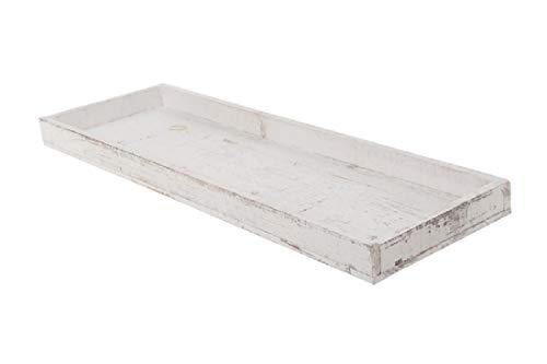 Dekotablett/Holztablett/Weiss-Washed / 60 cm / 1 Stück