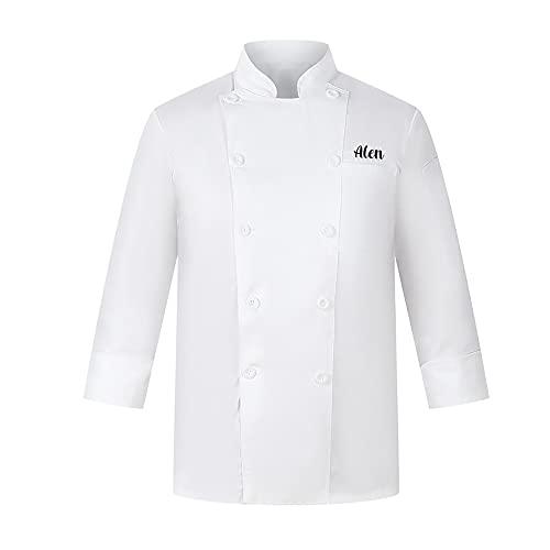 Abrigo de Chef Bordado Personalizado Chaqueta de Chef de Manga Larga Unisex Uniforme de Chef Personalizado