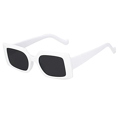 WQZYY&ASDCD Gafas de Sol Gafas De Sol Cuadradas De Moda Gafas De Sol De Moda para Mujer Gafas para Mujer Gafas para Hombre Gafas para Hombre-Blanco