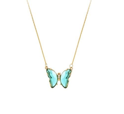 Collar dorado chapado en oro con colgante de mariposa y circonita verde esmeralda
