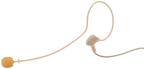 JTS CM-801F Elektret-Ohrbügelmikrofon, ultraleichtes Bühnen-Mikrofon mit einem Ohr-Haken, unauffälliges Headset inklusive Tasche und Windschutz, in Beige