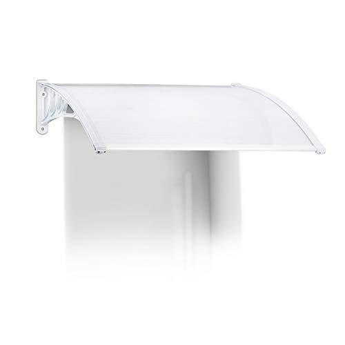 Relaxdays Vordach Haustür, Kunststoff, Aluminium, Pultbogenvordach, HxBxT: 120 x 80 cm, Überdachung, Transparent