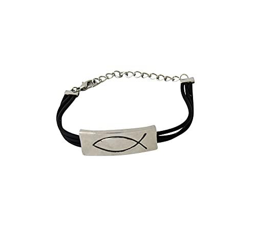Armband met vismotief zinklegering rubberen band met flexibele sluiting diameter ca. 6 cm