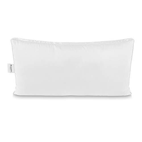 PERIBOIA Luxus Kopfkissen 40 x 80 cm, Kissen im Kissen, 100% Baumwolle, Atmungsaktiv, Kühlend, weiß