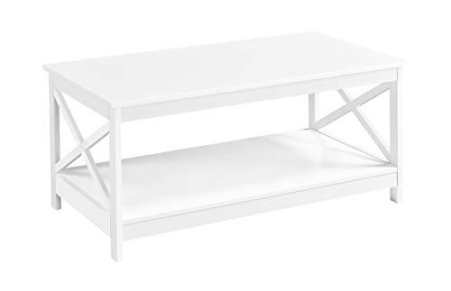 Yaheetech Couchtisch Weiß, Wohnzimmertisch, Sofatisch, Beistelltisch mit großer Ablage, Stabiles Desing, einfach zu montieren, 100 x 54,5 x 45 cm