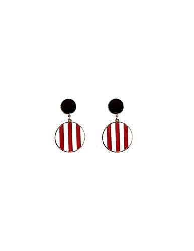 uPrimor 18K Rose Gold Plated Titanuim Steel Geometric Double Disk Drop Dangle Earrings With Interleaving Color Stripes for Women and Girls, Red & White