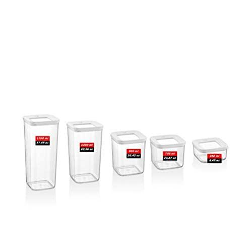 Caja de conservación fresca Caja de almacenamiento Organizador de cocina Contenedores Alimentos Despensa Especias Frigorífico Vacío transparente (Color : 1 Set x 5 Pc All Sizes Total 5 Pcs)