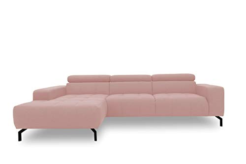 DOMO Collection Cunelli Ecksofa, Sofa mit Rückenfunktion, Polsterecke mit Relaxfunktion, 292x175x79 cm, Eckcouch in rosa