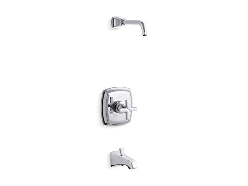 Kohler K-TLS16225-3-CP Margaux Rite-Temp-Embellecedor de válvula de baño Mango en Cruz y Boquilla NPT, Menos Cabezal de Ducha Cromado Pulido