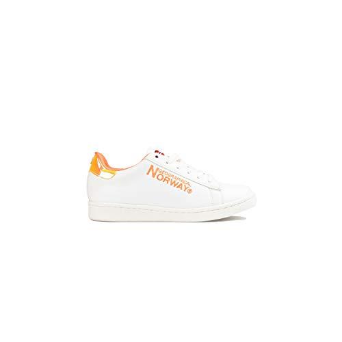 Geographical Norway - Zapatillas Deportivas Tenis Mujer Sneakers Piel, Naranja, 40