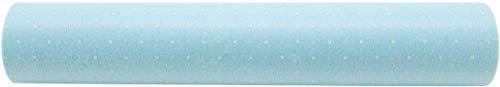 Camino de mesa de tela 100 % muselina con lunares, color azul claro (30 cm x 10 m)