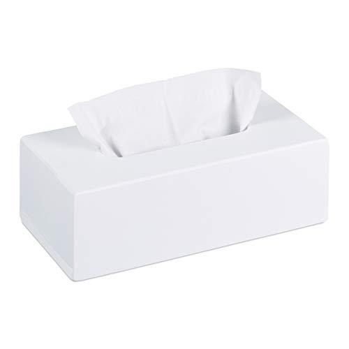 Relaxdays Tücherbox Bambus, Taschentuchbox mit Schiebeboden, Tissue Box für Taschentücher, HxBxT: 7,5 x 24 x 12 cm, weiß