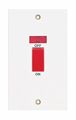 Selectric Interruptor de cocina de borde cuadrado doble polo y neón de 2 bandas 45 Amp blanco