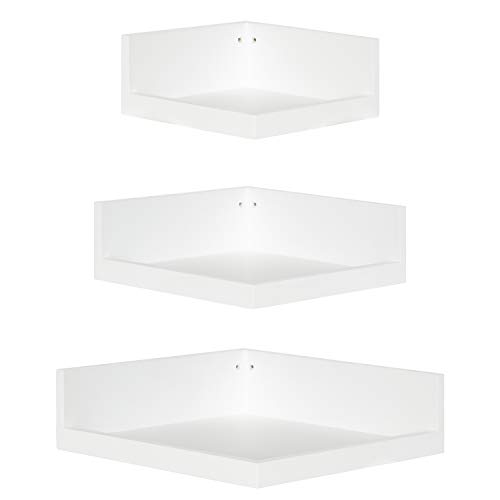 Enerhu 3 Packs Corner Wall Rack Fan-Shaped Wall Shelf Wall-Mounted Floating Shelves Ultra Light Home Decor #1 White Diameter 19cm x 22cm x 26cm/7.48 x 8.66 x 10.24inch