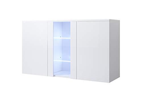 muebles bonitos Letti e Mobili - Credenza Modello Luke A1 con LED (120x70cm) Colore Bianco