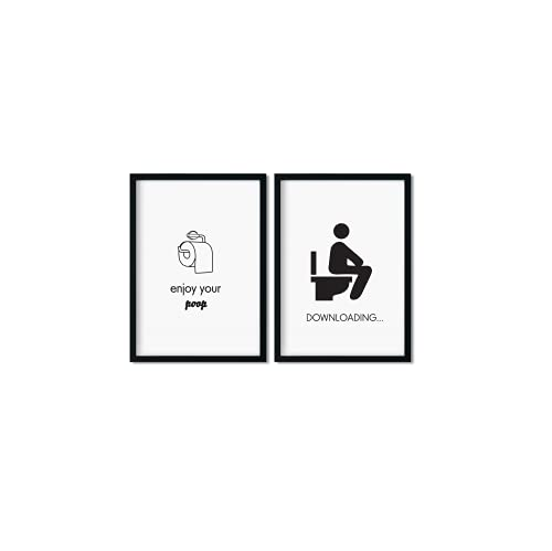 Pinearts Juego de pósteres para el baño | decoración moderna | imágenes de inodoro divertidas | regalo para adultos | divertidos carteles de baño | 2 x DIN A4 en blanco y negro | sin marco