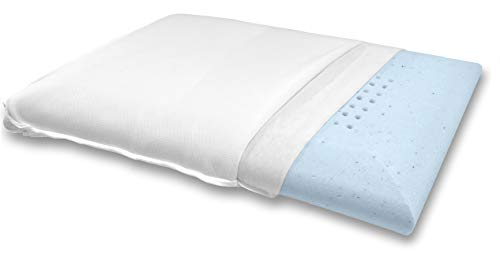Bluewave Bedding Super Slim Gel Memory Foam Pillow for Stomach and Back Sleepers - Thin and Flat Therapeutic Design for Spinal Alignment, Better Breathing and Enhanced Sleeping (Standard Size)
