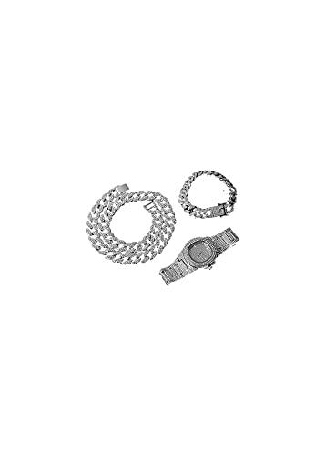 YZQ Adorno Collar + Reloj + Pulsera Cadena Cubana Oro Iced out Pavimentado Rhinestones CZ Bling Rapper Ajuste para Hombres Joyería Partido (Metal Color : Titanium Plated)