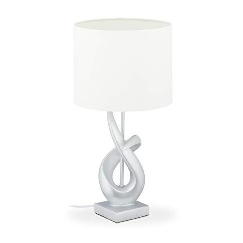Relaxdays Tischlampe modern, elegantes Design, Tischleuchte Stoffschirm, E27, Designerlampe HxD: 50x25 cm, silber/weiß, 10032239