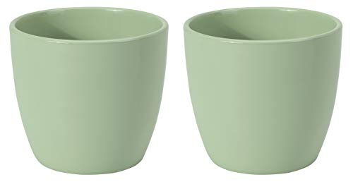 Keramik Blumenübertopf (Ø 12 cm / H 11 cm - 2 Stück, Hellgrün)
