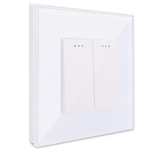 Navaris Interruptor doble para pared con marco de cristal - Elegante marco de cristal con 2 interruptores para luz - Placa empotrable en blanco