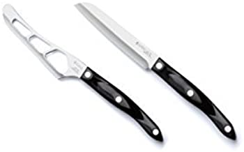 "product image for Cutco Cheese 2 piece Knife set. - Cheese Knife (1764) and Santoku Style Trimmer (3721) Classic Dark Brown handles (often called ""Black"")"