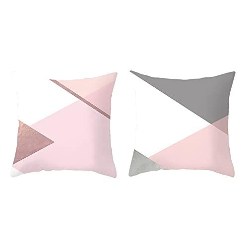 Agoble Cojin Silla Oficina, Funda De Almohada Poliéster 2 40X40cm Funda Cojin Blanco Rosa Cuadrícula De Puntos con Rayas Triangulares